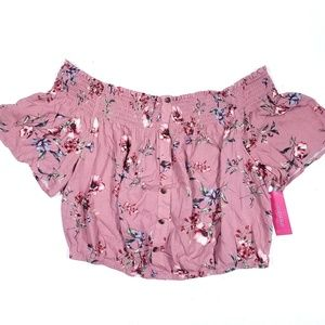 Xhilaration Pink Floral Off Shoulder Cropped Top